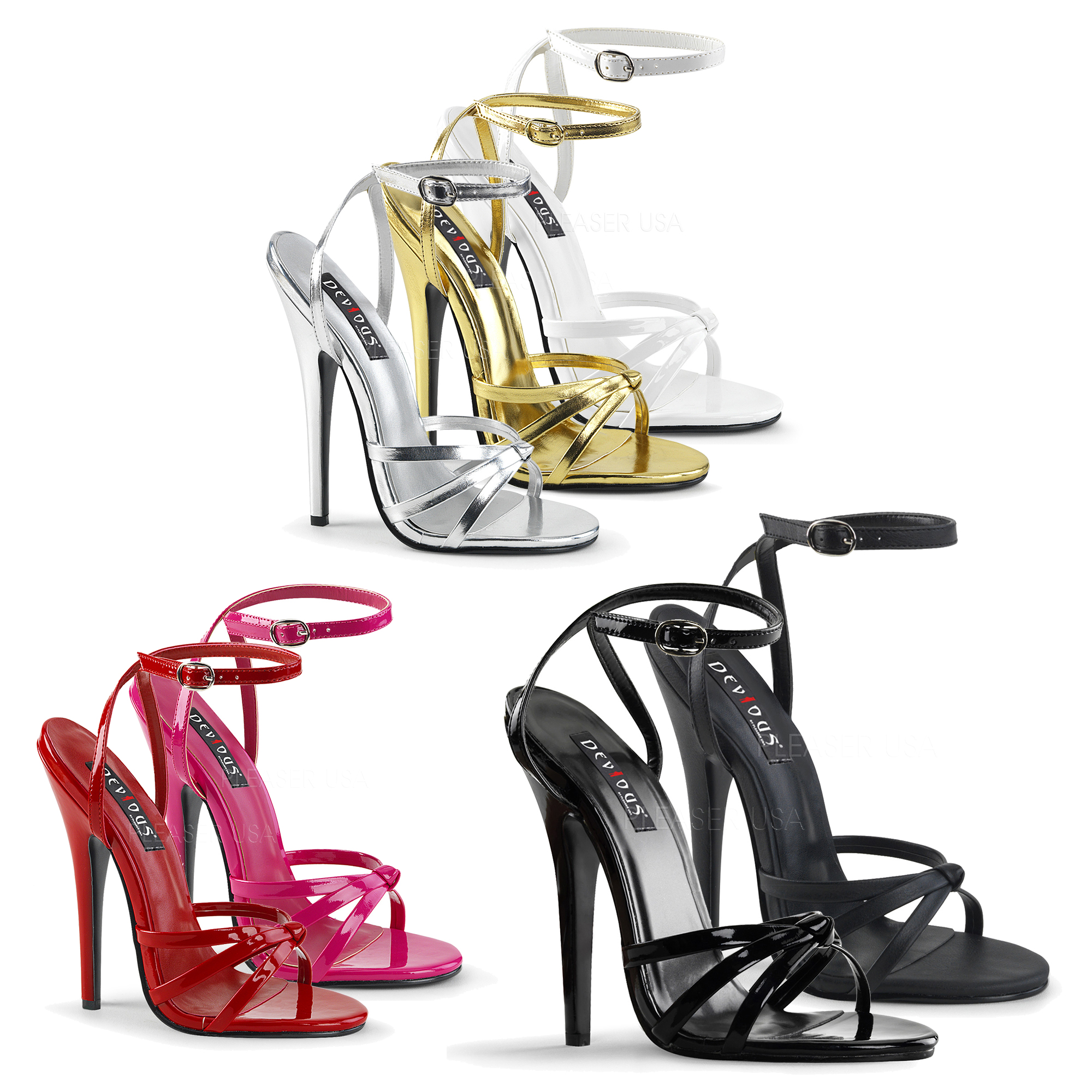 Devious By Pleaser Domina 108 Strappy Ankle Wrap Sandal