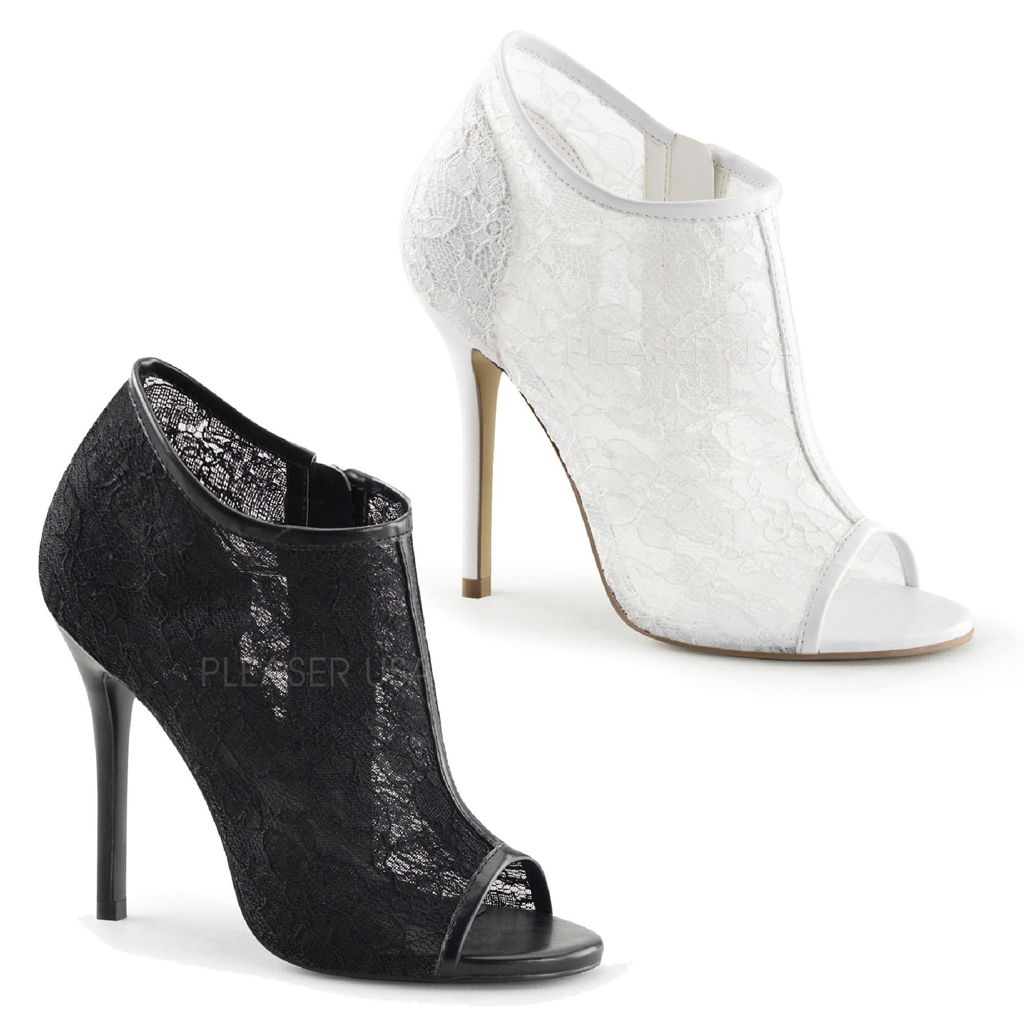 Amuse-56 Open Toe Bootie With Lace Overlay Patent Trim FABULICIOUS By Pleaser